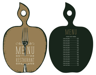 Vector template menu for restaurant with price list in the form of figured wooden cutting board with a picture of fork in retro style