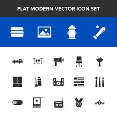 Modern, simple vector icon set with fire, departure, video, alcohol, safety, home, sport, sign, chair, furniture, baseball, drink, hamburger, background, travel, airplane, picture, comfortable icons