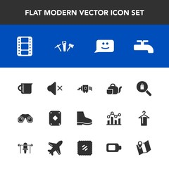 Modern, simple vector icon set with water, clothes, beverage, road, face, crane, cooking, food, pin, binocular, woman, glass, play, equipment, tea, female, travel, chat, game, entertainment, map icons