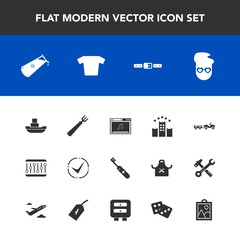 Modern, simple vector icon set with hotel, flight, tag, hipster, shirt, online, picture, belt, gambling, success, hygiene, bed, science, music, delivery, care, drawer, chemistry, truck, clothing icons