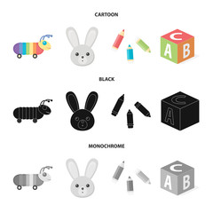 Children toy cartoon,black,monochrome icons in set collection for design. Game and bauble vector symbol stock web illustration.