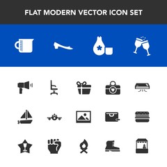 Modern, simple vector icon set with chair, holiday, clean, alcohol, liquid, air, travel, care, communication, sake, glass, container, comfortable, home, old, health, armchair, transportation icons