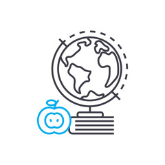 Geography vector thin line stroke icon. Geography outline illustration, linear sign, symbol isolated concept.