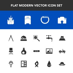 Modern, simple vector icon set with time, medical, upload, armchair, crater, water, sand, white, oil, health, magnifier, mediterranean, olive, instrument, divider, watch, sink, bedroom, photo icons