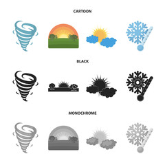 Tornado, sunrise, cloudiness, snow and frost. The weather set collection icons in cartoon,black,monochrome style vector symbol stock illustration web.