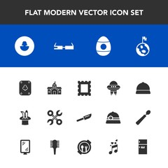 Modern, simple vector icon set with refrigerator, industrial, holiday, city, magic, service, government, technology, smart, tool, house, picture, knife, spring, building, business, planet, human icons