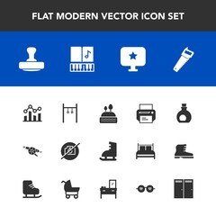 Modern, simple vector icon set with trend, business, technology, music, photo, musical, ice, mediterranean, finance, sign, star, sound, weapon, camera, athlete, computer, chart, sweet, equipment icons