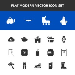 Modern, simple vector icon set with fun, holiday, musical, watch, smart, celebration, photo, box, japanese, footwear, gadget, object, teapot, sign, skating, skate, web, leisure, mail, time, tea icons