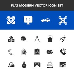 Modern, simple vector icon set with cosmos, monitor, technology, drill, suzuri, abc, instrument, truck, engineering, clinic, dentist, handle, communication, vehicle, picture, equipment, object icons