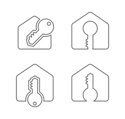 house and key icon logo