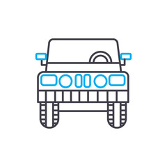 Light truck vector thin line stroke icon. Light truck outline illustration, linear sign, symbol isolated concept.