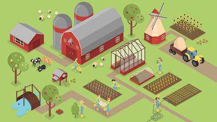 Isometric farm with animals.