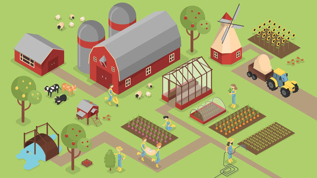 Isometric farm with animals.