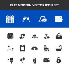 Modern, simple vector icon set with destination, sport, housework, glass, lock, home, vacuum, fashion, pointer, picture, drink, white, day, position, clothing, seafood, cleaner, bag, travel, map icons