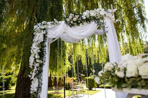 Wedding Arch With Fresh Flowers For Wedding Ceremony Beautiful