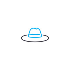 Men's hat vector thin line stroke icon. Men's hat outline illustration, linear sign, symbol isolated concept.