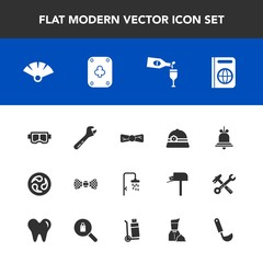 Modern, simple vector icon set with fan, bow, immigration, water, notification, cooking, equipment, food, travel, drink, glass, japanese, alarm, bell, wine, kitchen, snorkel, passport, red, sea icons