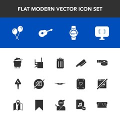 Modern, simple vector icon set with business, musical, photo, necklace, work, time, camera, table, kitchen, sticky, accessory, gadget, bin, adhesive, recycling, dinner, meal, desk, smart, guitar icons