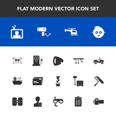 Modern, simple vector icon set with kid, baby, screen, room, home, car, photography, hair, musical, tv, pendulum, child, helicopter, shower, blow, bin, television, garbage, guitar, file, camera icons