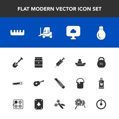 Modern, simple vector icon set with off, dentist, equipment, ocean, cutter, flashlight, hair, boat, ship, guitar, bodybuilding, musical, button, weight, idea, fitness, brush, comb, nutrition icons