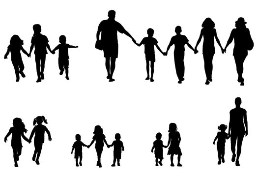 family and children holding hands silhouettes collection - vector