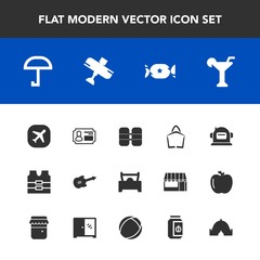 Modern, simple vector icon set with clothing, car, jam, space, plane, martini, bag, equipment, outdoor, , lollipop, astronaut, musical, rain, flight, cylinder, travel, food, alcohol, aircraft icons