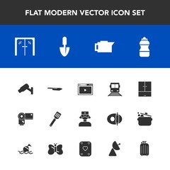 Modern, simple vector icon set with work, safety, entrance, caffeine, pan, bottle, surveillance, signal, espresso, medical, camera, security, internet, media, architecture, coffee, photographer icons