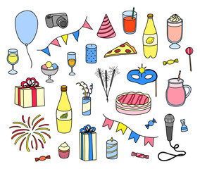 Set of hand drawn party items.