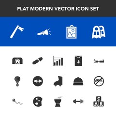 Modern, simple vector icon set with christmas, gym, technology, warm, axe, fire, construction, business, tool, electric, toy, fashion, picture, parachuting, sign, sport, makeup, data, smart, sea icons