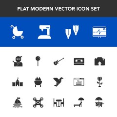 Modern, simple vector icon set with upload, weapon, white, sewing, sport, food, paper, art, creative, summer, health, japanese, musical, baby, pulse, tower, grill, child, pin, cassette, sew, sea icons