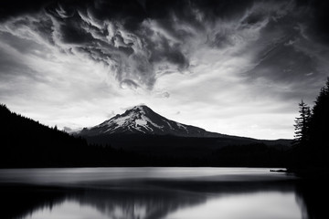 Mount Hood during a storm view from Trillium lake