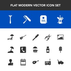 Modern, simple vector icon set with van, drill, musical, picture, music, vehicle, pen, roll, phone, sea, frame, travel, chair, palm, ice, island, roller, summer, brush, photo, razor, beach, red icons