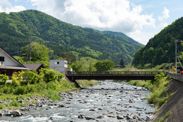 Japan's countryside river in summer