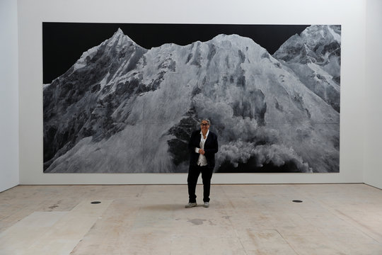 Tacita Dean poses for a photograph in front of her work 'Landscape' inthe redeveloped campus of the new Royal Acadamy of Arts, during a media event, in central London