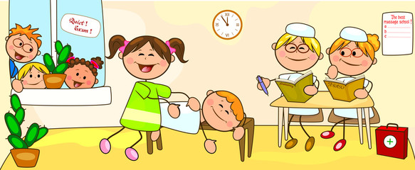 Classes in the school for massage. Examination on the courses on massage