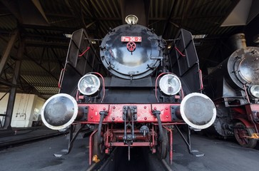 steam train in roundhouse