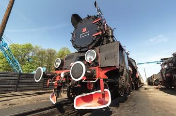 retro locomotive on blue sky
