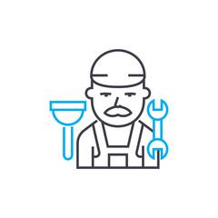 Plumber vector thin line stroke icon. Plumber outline illustration, linear sign, symbol concept.