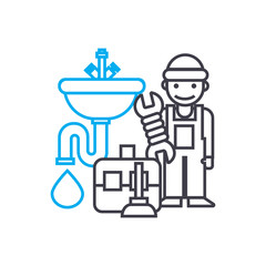 Plumbing work vector thin line stroke icon. Plumbing work outline illustration, linear sign, symbol concept.