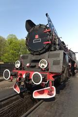 steam train on a blue sky