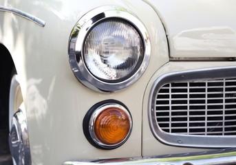 Close up photo of headlight retro car