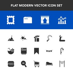 Modern, simple vector icon set with frame, white, curtain, agriculture, sport, business, star, present, gas, sign, sky, trend, summer, element, celebration, graph, bookmark, astronomy, appliance icons