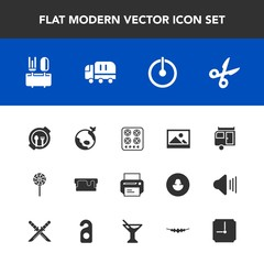 Modern, simple vector icon set with stove, frame, plane, table, plate, spoon, cook, off, cut, old, food, printer, delivery, oven, background, trailer, cake, switch, print, machine, sweet, pie icons