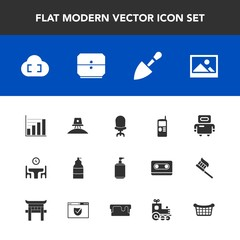 Modern, simple vector icon set with cyborg, frame, food, space, paint, comfortable, mobile, liquid, construction, table, basket, science, white, cell, soap, phone, cloud, background, picture icons