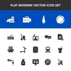 Modern, simple vector icon set with talk, speech, food, add, film, android, technology, bubble, equipment, cyborg, handle, scale, play, poker, music, machinery, file, construction, shipping, tv icons