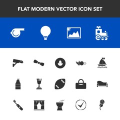 Modern, simple vector icon set with surveillance, jump, image, american, photo, business, locomotive, bow, transport, gift, referee, wind, football, game, safety, parachute, award, camera, sky icons
