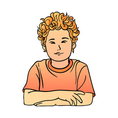 A schoolboy with red curly hair in T-shirt quietly sits clasped hands
