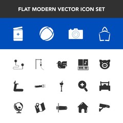 Modern, simple vector icon set with gym, music, bird, camera, swine, alcohol, medicine, surveillance, destination, note, drink, musical, pig, sign, sound, lamp, treadmill, sale, photo, piglet,  icons