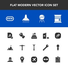 Modern, simple vector icon set with bbq, curtain, hammer, image, dessert, barbecue, equipment, hood, cake, razor, fitness, grill, home, paper, dental, cooking, music, kitchen, clip, sweet, food icons