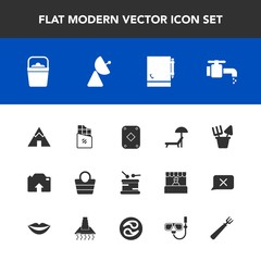 Modern, simple vector icon set with sink, travel, adventure, leather, drum, chair, notepad, outdoor, upload, bar, page, dessert, sweet, white, tent, toy, chocolate, plastic, bathroom, sunbed icons